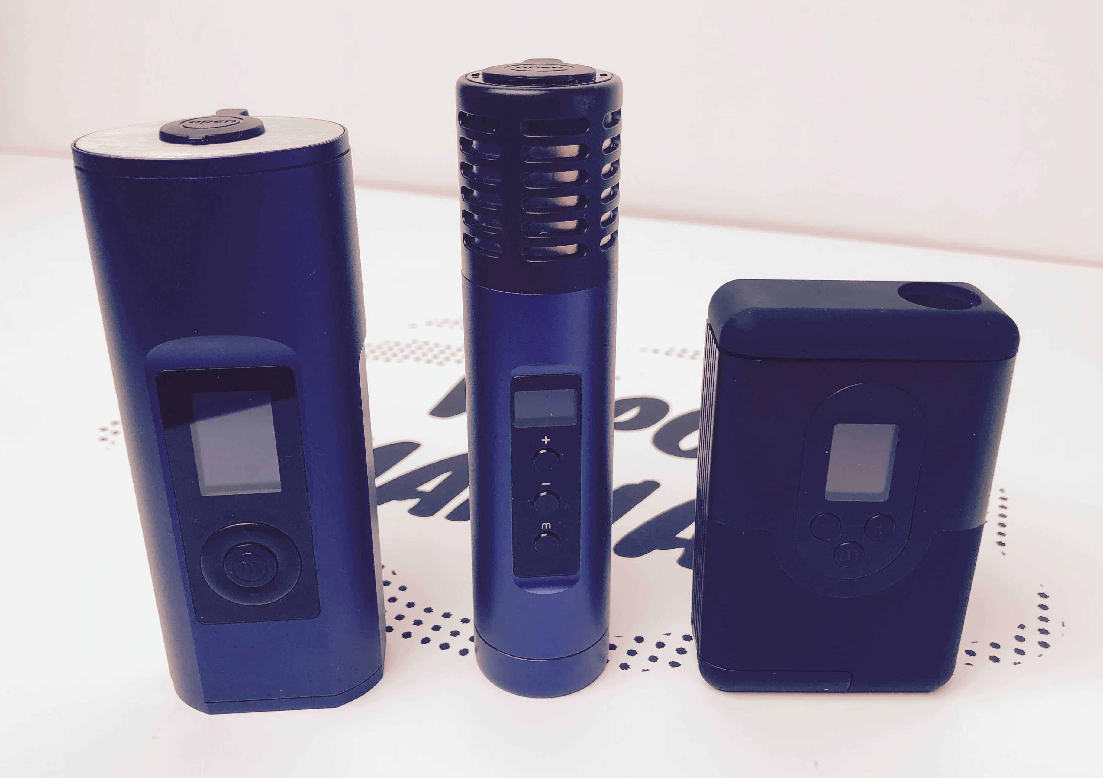 ArGo Vaporizer Porównanie wielkości ArGo (po prawej), Air 2 (w środku) oraz Solo 2 (po lewej).