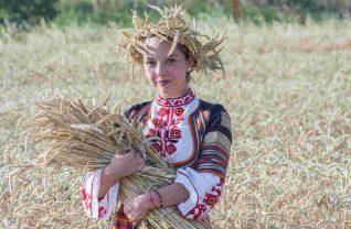 Bułgarska kobieta z stroju ludowym w polu