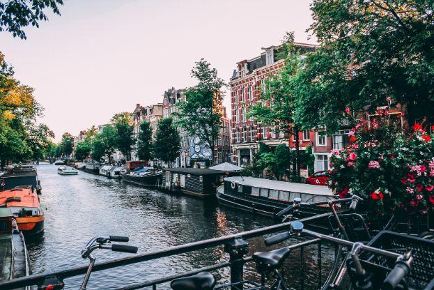 Rowery zaparkowane przy kanale