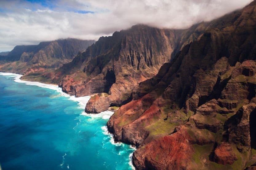 Zdjęcie lotnicze hawajskiego wybrzeża