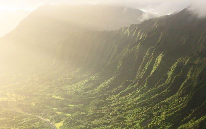 Zdjęcie lotnicze hawajskich gór pokrytych lasem