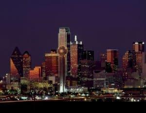 Wieżowce Teksasu nocą